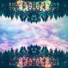 Trippy colorful forest