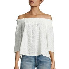 Current/Elliott The Smocked Cotton Off-The-Shoulder Blouse ($228) ❤ liked on Polyvore featuring tops, blouses, apparel & accessories, white cotton blouse, embroidered blouse, off shoulder tops, white off shoulder blouse and 3/4 sleeve blouse