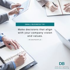 Make decisions that align with your company vision and values. Having a solid grasp of your company's mission statement and objectives is integral to making decisions that benefit your whole enterprise. #decision #business #smallbusinesstip Making Decisions, Decision Making, Business Tips, Benefit, Memes, Quotes, How To Make, Qoutes, Dating