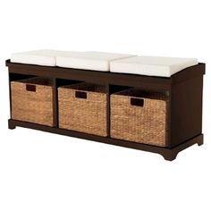 Target Entryway Bench with 3 Baskets/Cushions - Espresso