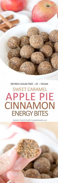 Naturally sweet, cinnamon apple pie energy bites made without added sugars, a true healthy snack. CLICK to read the recipe or PIN for later! #vegan #glutenfree #healthy #raw