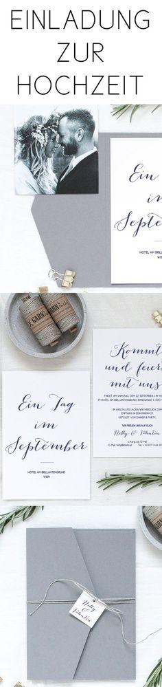 #hochzeitseinladungen von www.papierhimmel.com #einladungen, #hochzeit, #hochzeitskarten, #weddingstationery #weddinginvite #weddinginvitations #modern #design #hipster #coffee #einladung #einladungskarte #minimalistisch #garn #pocketfold #umschlag #grau