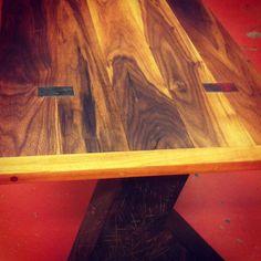 Maple & Walnut top with steel inlays. Men Coffee, Maple Walnut, Wood Steel, Working Man, Legs, Table, Top, Desk, Tabletop