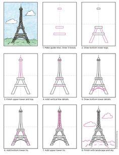 Draw the Eiffel Tower. Free PDF tutorial. #howtodraw #directdraw #eiffeltower by Art Projects for Kids