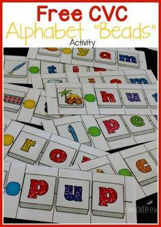 "FREE CVC Word Building Alphabet ""Beads"" Activity"