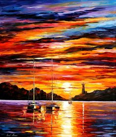 Leonid Afremov, oil on canvas, palette knife, buy original paintings, art, famous artist, biography, official page, online gallery, large artwork, sunset, water, boat, sea, scape, pier, dock, night, calm, yachts, harbor, shore, rest, ship, regatta, sailer