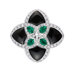 Louis Vuitton - collection Acte V - Onyx and emeralds with diamond accents interpret the Louis Vuitton flower in a precious, new way. Emerald Jewelry, Black Jewelry, High Jewelry, Luxury Jewelry, Pearl Jewelry, Jewelry Stores, Jewelery, Cartier Jewelry, Louis Vuitton Jewelry