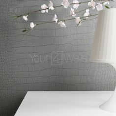 Glittering Crocodile Animal Skin Glitter Effect Wallpaper | Grey