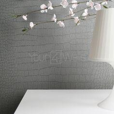 Glittering Crocodile Animal Skin Glitter Effect Wallpaper | Grey