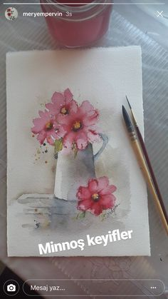 Watercolor Cards, Watercolour Painting, Watercolor Flowers, Watercolors, Beautiful Flowers Pictures, Flower Pictures, Painted Flowers, Art Drawings Sketches, Painting Inspiration