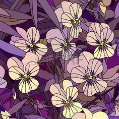 vetrate artistiche: Mosaico vettore con grandi cellule di viola (Viola del pensiero) sul viola. Vettoriali