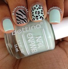 Mint Animal Print Accent Nails these are for Colors used: Bettina Orchidea and China Glaze Glistening Snow. Mint Animal Print Accent Nails these are for Colors used: Bettina Orchidea and China Glaze Glistening Snow. Get Nails, Fancy Nails, Love Nails, How To Do Nails, Pretty Nails, Nail Art Motif, Acryl Nails, Cute Nail Designs, Cheetah Nail Designs