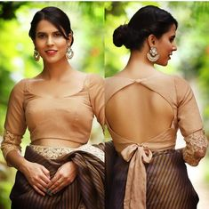 Bow-tie is not just for the men. This beige chiffon blouse with a tie-up back shows how to rock a western trend at ease. The elbow length Saree Jacket Designs, Saree Blouse Neck Designs, Fancy Blouse Designs, Bridal Blouse Designs, Choli Blouse Design, Lehenga Designs, Dress Designs, Stylish Blouse Design, Designer Blouse Patterns