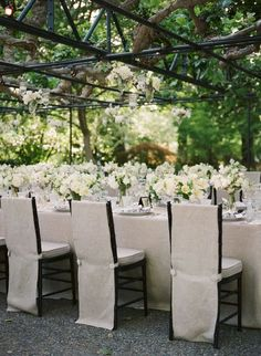 Napa Valley wedding from Laurie Arons Special Events - Wedding Time Wedding Table Centerpieces, Wedding Chairs, Table Decorations, Centrepieces, Reception Table, Reception Ideas, Deco Table, Chair Covers, Garden Wedding