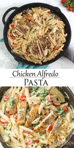 This easy Chicken Alfredo Pasta recipe has penne that's tossed in a creamy alfredo sauce with spinach and tomatoes. This easy dinner recipe will be a hit at your dinner table! # Food and Drink dinner videos Chicken Alfredo Pasta Italian Chicken Pasta, Chicken Pasta Recipes, Healthy Chicken Recipes, Easy Recipes, Chicken Alfredo Recipe With Spinach, Pasta Recipes With Chicken, Pasta With Spinach, Best Italian Pasta Recipes, Pasta Recipes For Dinner