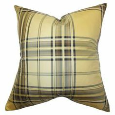 """Add a pop of pattern to your sofa, arm chair, or window seat with this handsome silk pillow, showcasing a classic plaid motif in gold and brown. Made in the USA.  Product: PillowConstruction Material: Silk cover and 95/5 down insertColor: GoldFeatures:  Hidden zipper closurePlaid patternMade in the USA Dimensions: 18"""" x 18"""""""