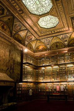 The Pierpont Morgan Library in NYC is one of the grandest libraries in the United States. It was designed by Charles McKim and built in 1906 to house the private library of financier J. P. Morgan and cost 1.2 million to build. Morgan, who was a noted collector, included in his library manuscripts and printed books, some of them in rare bindings, and his collection of prints and drawings. The library was made a museum and research library administered by a private trust in 1924.