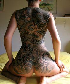 Japanese girl full back tattoo