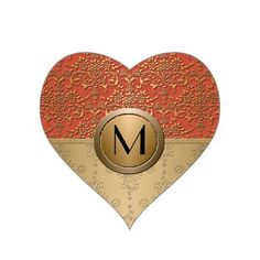 Coral and Gold Monogram Damask Pattern Heart Sticker