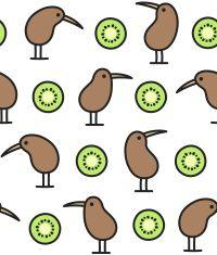kiwi bird and fruit pattern vector art illustration
