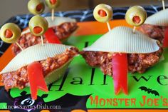 Such a fun idea for kids for Halloween parties! Monster Joe's...not-so-scary Sloppy Joes. Stuffed pasta shells and olives - from Amee's Savory Dish