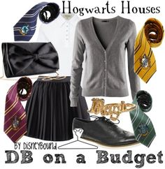 HP: Hogwarts Houses (on a Budget) inspired outfit by Disneybound at: http://disneybound.tumblr.com/
