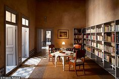 Library and receiving area in a Moroccan home.