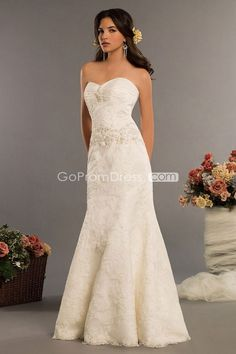 lace sequins Beading Applique Sweep Train wedding dress - gopromdres.com