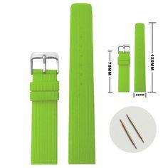 20ミリメートルグリーンカラーシリコンゼリーゴムレディース男性時計バンドストラップWB1071L20JB