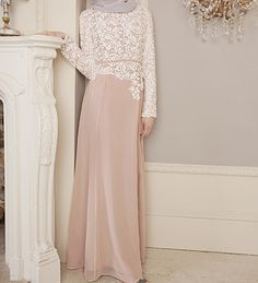 Dusty Pink Crochet Dress - £74.99 : Inayah, Islamic Clothing & Fashion, Abayas, Jilbabs, Hijabs, Jalabiyas & Hijab Pins