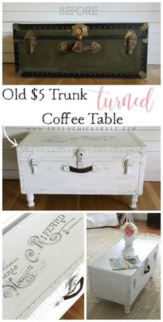 $5 Old Trunk Coffee Table , A THRIFY Makeover!   Artsychicksrule
