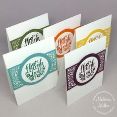 set of handmade thank you cards from Mel's Card Corner ... Quick & Easy ... clean and simple ... monochromatic in ink, cardstock & printed paper ... Stampin' Up!