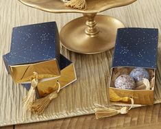 Navy cardstock favor box is adorned with white star constellation design and comes with a gold foil slide tray and fun gold tassel.  Adorned with a white star constellation design, these fun navy blue favor boxes also sport a hint of gold in foil and a tassel. The options are endless - fill with treats of your choosing!   -- Sold in a set of 24  -- Favor box measures 3.34 w x 2.36 d x 1.18 h  -- Some assembly required  -- Contents not included  The listing is for 24 x constellation design…