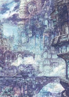 Iridescent District of Voltres, Larissa Credit: swirl of illustration : Photo Fantasy City, Fantasy Kunst, Fantasy World, Fantasy Art Landscapes, Fantasy Landscape, Landscape Art, Art And Illustration, Anime Kunst, Anime Art