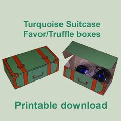Suitcase favor/truffle box, Turquoise. Wedding. Birthday party, Printable download. Decor, Bomboniere, wedding candy by MoonGloCreations on Etsy Chocolate Wedding Favors, Wedding Candy, Truffle Boxes, Party Games, Truffles, Suitcase, Printables, Turquoise, Birthday