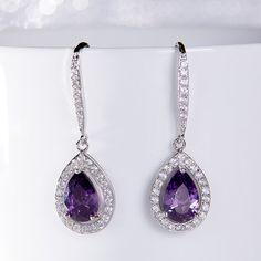 Violet Crystal Bridal Earrings Tear Drop Zircon by SwanSignature