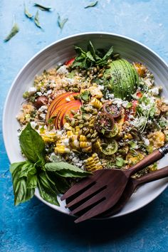 Thai Grilled Corn and Peach Quinoa Salad | halfbakedharvest.com @hbharvest