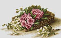 B510 Cesta con flores €22.00  Kit completo de punto de cruz Marca: Luca-S Hilos: Anchor Tela Aida: Zweigart Medidas: 41,5*23cm Colores: 43