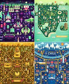 Flat illustrations of the Cities of Las Vegas, Rio De Janeiro, Beijing, and Santiago De Chile.