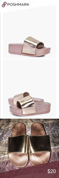 Rose gold platform slides Brand new, never worn but no box Boohoo Shoes