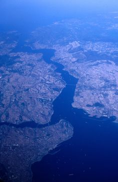 Aerial shot of Istanbul including the Bosphorus…