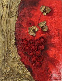 """Serie """"Flowers"""" titolo Grappolo di rose cm.80x80"""
