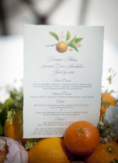 Oranges as wedding decor—perfect for a Southern wedding! // Molly Josephs Photography}