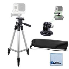 """50"""" Aluminum Camera Tripod with Built in Bubble Level Indicator For Gopro 1, 2, 3, 3+, 4 Gopro+, Gopro Hero Silver & Black edition, GoPro 4 Session + Tripod Mount and an eCostConnection Microfiber Cloth Included eCost http://www.amazon.com/dp/B00LXFX31E/ref=cm_sw_r_pi_dp_y6Rdxb0DGX3Z5"""