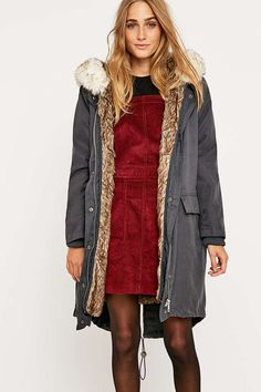Shop BDG Detachable Faux Fur Lining Parka at Urban Outfitters today. Urban Outfitters, Blazer, Winter Is Coming, Stay Warm, Mantel, Parka, Latest Fashion, Faux Fur, Bring It On