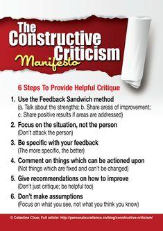 Constructive Criticism Manifesto ... http://personalexcellence.co/blog/constructive-criticism-manifesto/