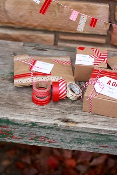 Washi Tape Gift Wrap Ideas + Printable Gift Tags
