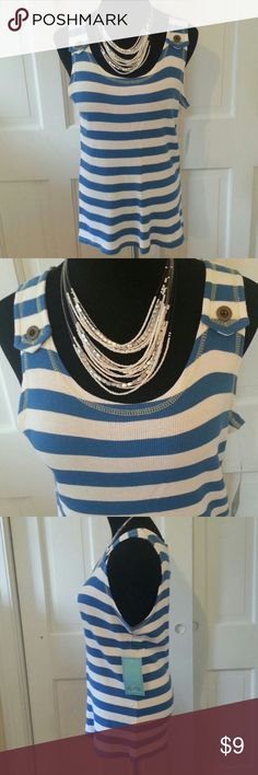 TOP HILLARD & HANSON XL LADIES TANK TOP HILLARD & HANSON LADIES TANK TOP XL DESIGNED WITH ROYAL BLUE AND WHITE STRIPES,  BOAT NECKLINE, SLEEVELESS. THE CUTEST PART OF THIS TOP IS THE YELLOW OVER-STITCHING AROUND THE NECK AND ARM OPENINGS AS WELL AS THE TWO DECORATIVE BUTTONS ON THE SHOULDERS.  100% COTTON,  MACHINE WASH COLD. STILL HAS ORIGINAL TAGS. NEVER BEEN WORN.  POSH PRINCESS SC Hillard & Hanson Tops Tank Tops
