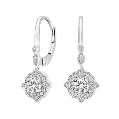 18K White Gold Cadenza Halo Diamond Earrings (2/3 ct. tw.), top view