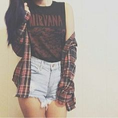 Mystery Hipster Grunge Outfit: High Waisted Shorts & Flannel Shirt & Tee                                                                                                                                                                                 More